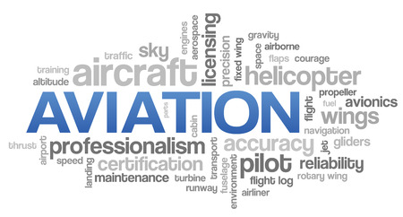Aviation Word Cloud Blue Bubble Tags Tree Vector Reklamní fotografie - 26866937