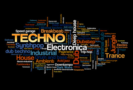 Electronic Techno Music Styles Word Cloud Bubble Tag Boom vector geïsoleerd op zwart Stock Illustratie