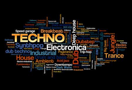 Electronic Techno Music Styles Word Cloud Bubble Tag Boom vector geïsoleerd op zwart Stock Illustratie