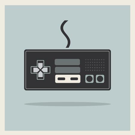 Computer Video Game Controller Joystick on Retro Background  Illusztráció