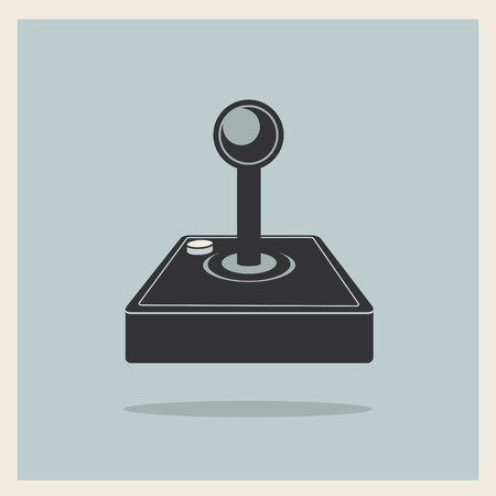 Computer Video Game Joystick on Retro Background  Vector