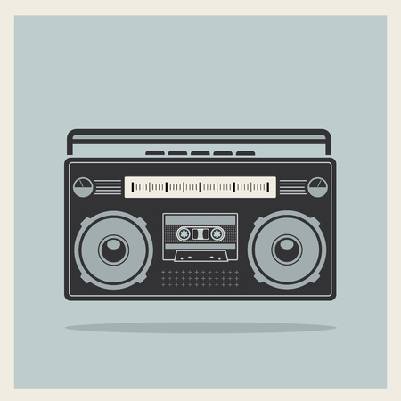 Classic 80s boombox on Retro Background Detailed Icon Vector