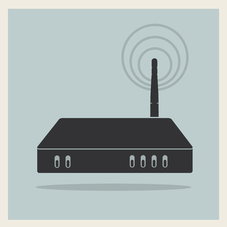 Wifi Router on Blue Retro Background  矢量图像
