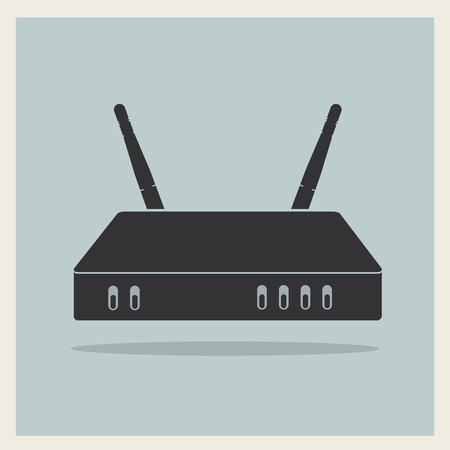 Wifi Router on Blue Retro Background Vector Illustration