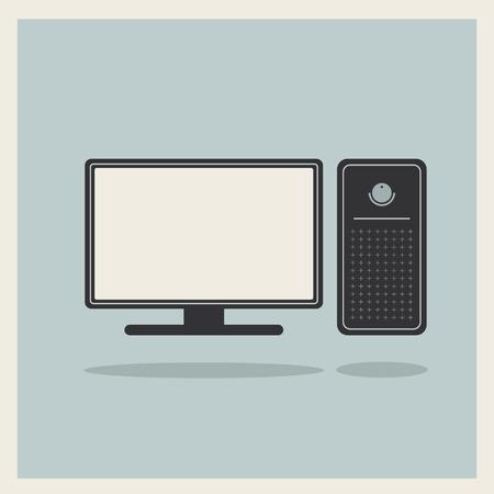 블루 복고풍 배경에 개인용 컴퓨터 및 모니터
