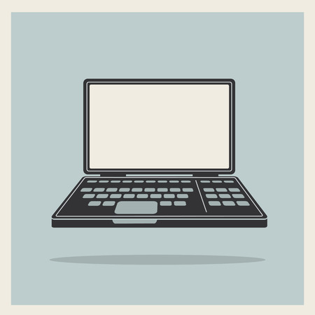Laptop notebook personal computer on Blue Retro Background vintage icon