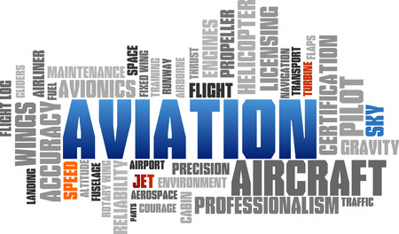 professionalism: Aviation Word Cloud Blue Bubble Tags Tree  Illustration