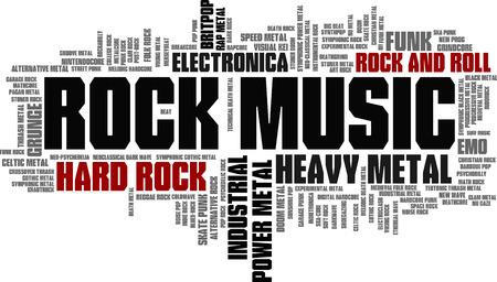 Rock Music Styles Word Cloud Bubble Tag Tree vector isolated Vector