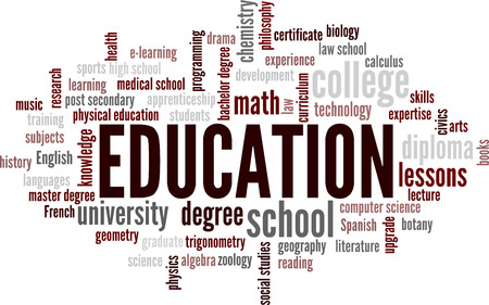 word: Education Word Cloud Bubble Tags Tree Detailed Vector