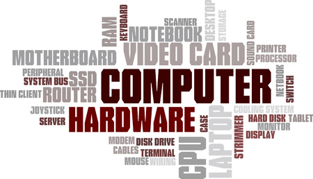 hard drive: Computer Hardware Word Cloud Bubble Tag Tree Vector