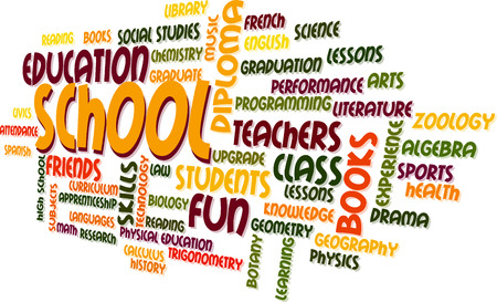School Word Cloud Bubble Tag Tree Vector Vector