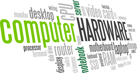 word processors: Computer Hardware Word Cloud Bubble Tag Tree Vector
