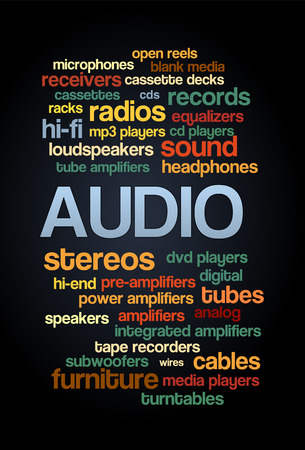 hi end: Audio Stereo Word Cloud Bubble Tag Tree Text vector on dark background Illustration