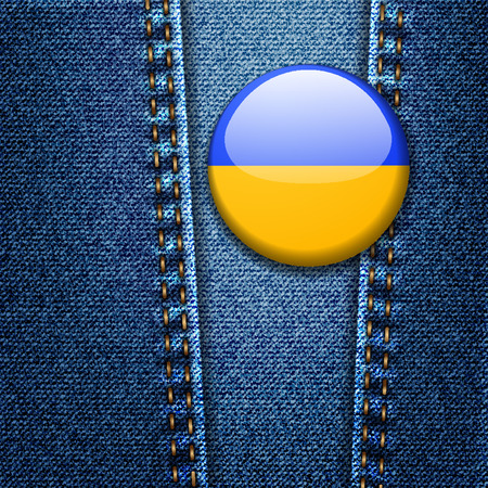 Ukraine Flag Badge On Jeans Denim Texture Detailed Vector