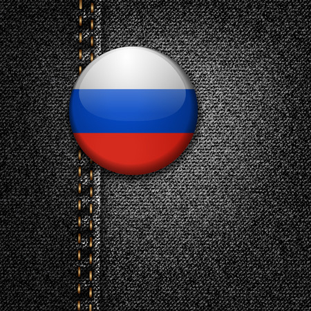 Russia Badge on Black Denim Jeans Fabric Texture