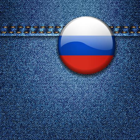 밝고 화려한 러시아 국기 배지 데님 패브릭 질감 자 켓 일러스트