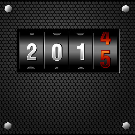 2015 New Year Analog Counter detailed Vector