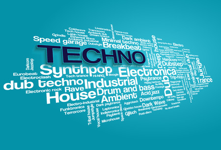 Electronic Techno Music Styles Word Cloud Bubble Tag Tree on blue background