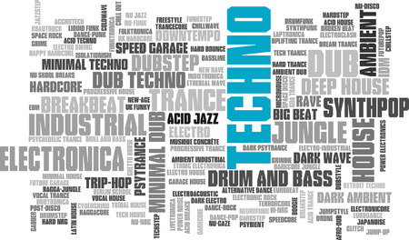 Electronic Techno Music Styles Word Cloud Bubble Tag Tree isolated on white Illustration