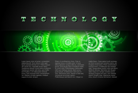Metal Technology Panel With Green Glowing Gears Illustration