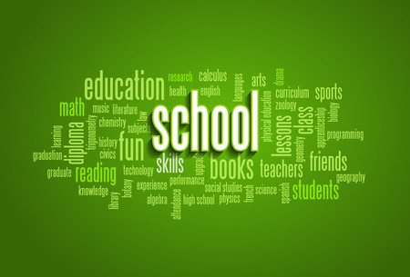 school class: School Word Cloud Bubble Tag Tree on green background