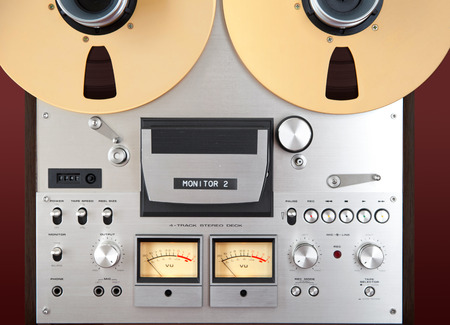 sound recording equipment: Analog Stereo Open Reel Tape Deck Recorder VU Meter Closeup