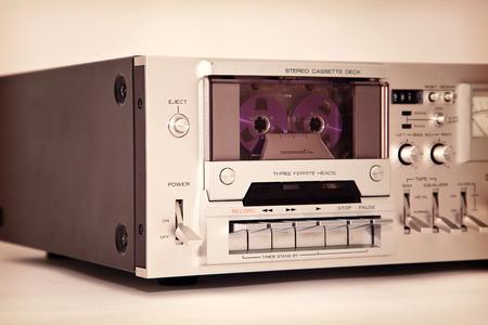 tape recorder: Grabadora de cassette Vintage platina estéreo
