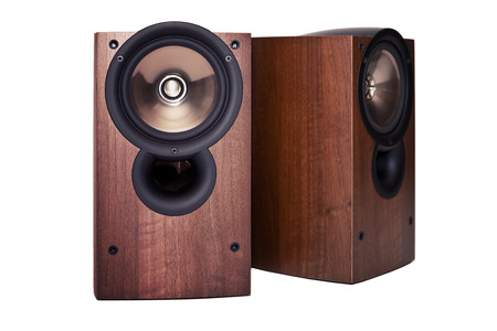 loudspeaker: Loudspeaker in wooden cabinet, isolated on white Stock Photo