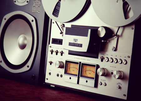 Analog Stereo Open Reel Tape Deck Recorder VU Meter Device Closeup Stock Photo