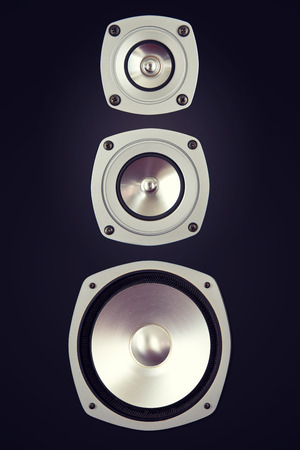loud: Three Way Big Audio Stereo Loud Speaker Closeup Stock Photo