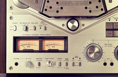 Analog Stereo Open Reel Tape Deck Recorder VU Meter Device Closeup Vintage