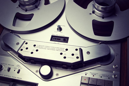 Analog Stereo Open Reel Tape Deck Recorder Vintage Closeup