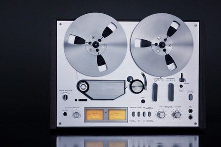 music studio: Analog Stereo Open Reel Tape Deck Recorder Vintage For Professional Sound Recording