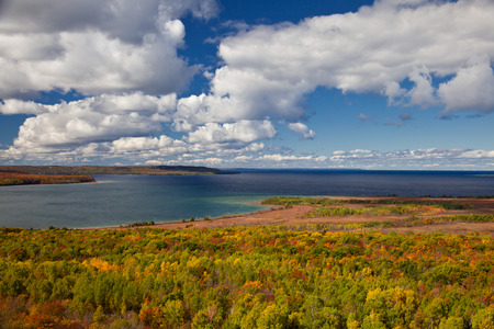 huron: Lake Huron at Cape Croker Autumn Fall Forest Trees landscape Stock Photo