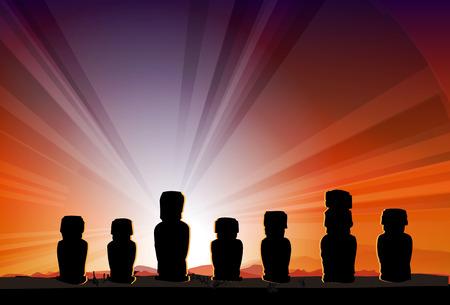 moai: Monumento Isla de Pascua Estatuas Moai en las vigas de Sun Vector Vectores
