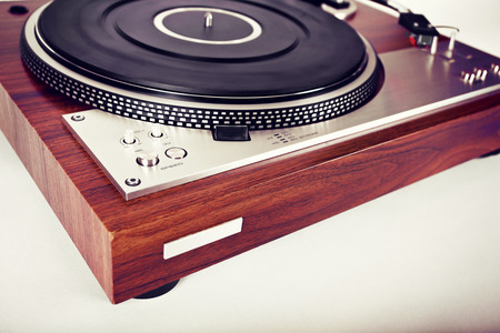 turntables: Stereo Turntable Vinyl Record Player Analog Retro Vintage Angle View Stock Photo