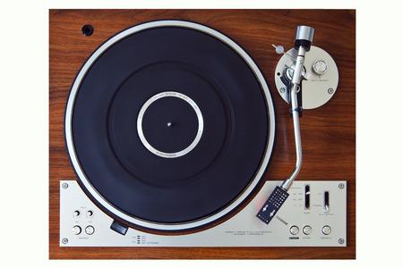 Stereo Turntable Vinyl Record Player Analog Retro Vintage Top View Standard-Bild