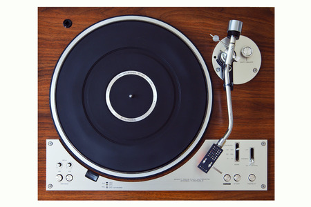 turntables: Stereo Turntable Vinyl Record Player Analog Retro Vintage Top View Stock Photo