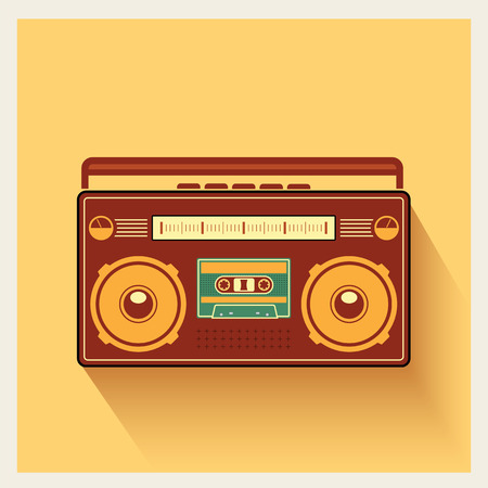 portable player: Classic 80s Boombox Portable Cassette Tape Player on Retro Background Detailed Vector Icon Illustration