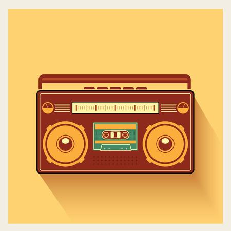 Klassische 80er Boombox Tragbarer Kassetten-Spieler auf Retro-Hintergrund Detaillierte Vektor-Icon Standard-Bild - 33833169