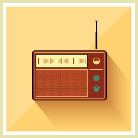receiver: Retro radio receiver vintage vector