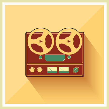 Retro open reel tape deck stereo recorder player vector 向量圖像