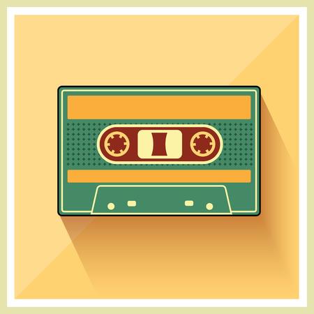 Audio  Compact Cassette Tape on Retro Background vector Ilustração