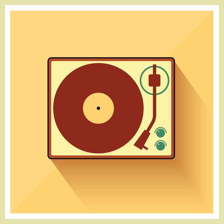 record player: Retro turntable vinyl record player vector