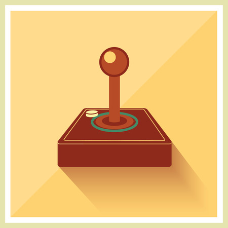input device: Computer Video Game Joystick on Retro Background Vector