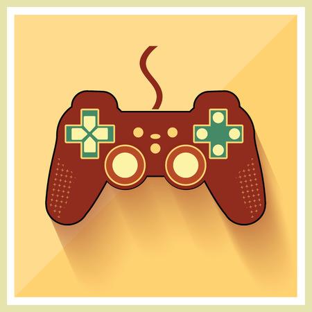 Computer Video Game Controller Joystick on Retro Background Vector
