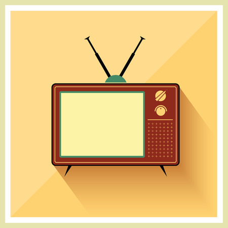 wireless signal: Retro crt tv receiver on vintage background vector