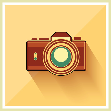 vintage camera: DSLR Professional Camera Icon On Retro Vintage Background vector Illustration