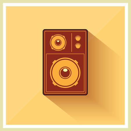 loudspeaker: Retro Loudspeaker on vintage Yellow background, vector