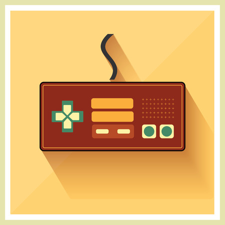 emulation: Computer Video Game Controller Joystick on Retro Background Vector